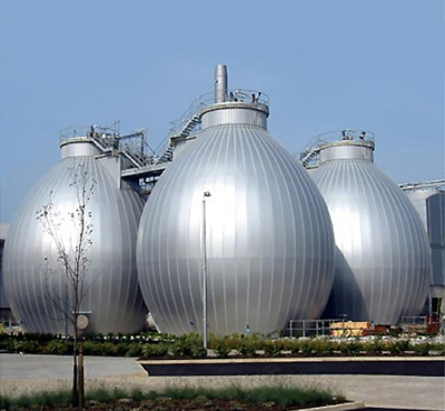 A resource recovery facility with silver tanks for anaerobic digestion