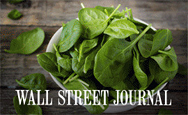 Bowl of spinach with an overlay of the words Wall Street Joural